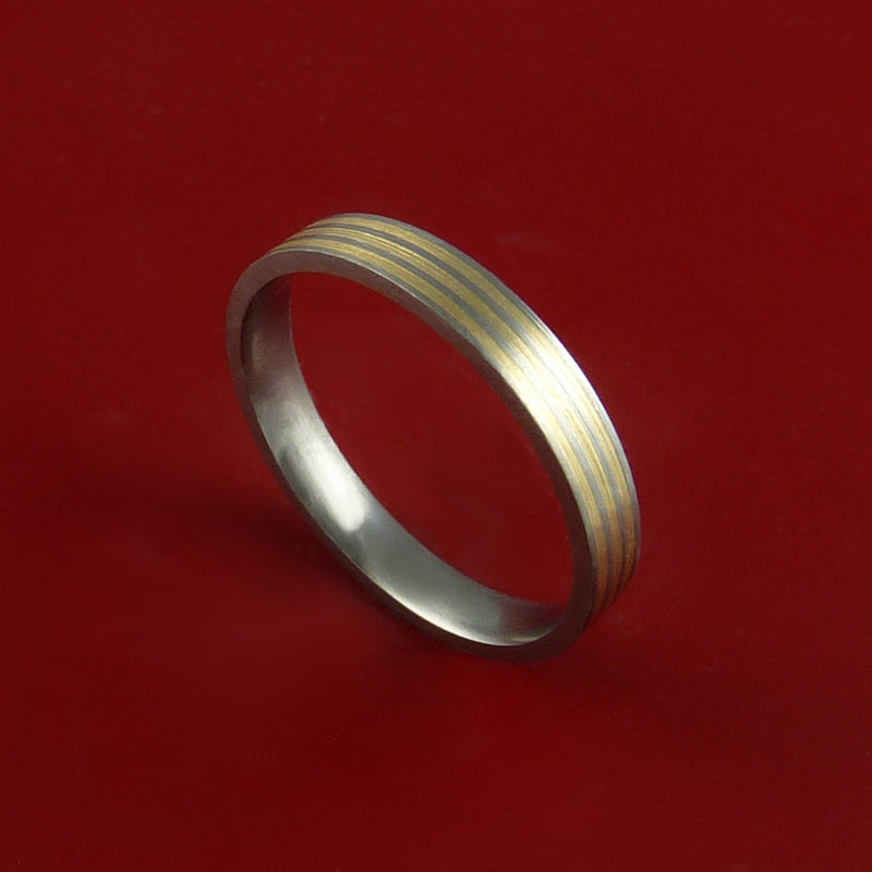 Titanium 14K Yellow Gold Narrow Custom Made Band Any Finish and Sizing