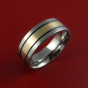 Titanium and 14K Yellow Gold Custom Made Band Any Finish and Sizing 3 to 22