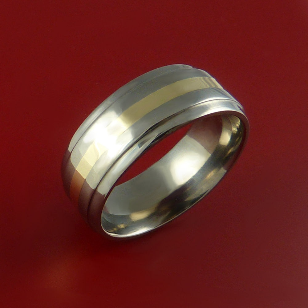 14K Yellow Gold and Titanium Ring Custom Made Band Any Finish and Sizing from 3-22