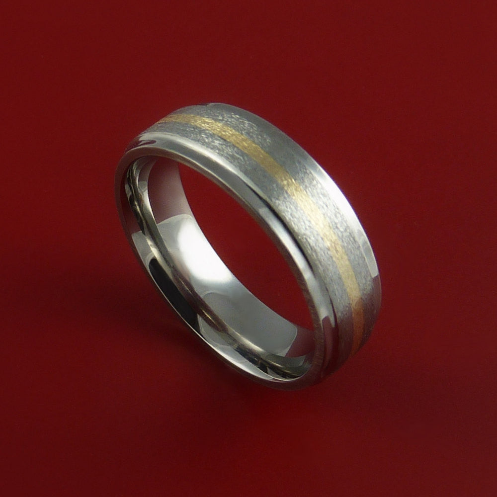 Yellow Gold and Titanium Ring Custom Made Band Any Finish and Sizing 3 to 22 by Stonebrook Jewelry