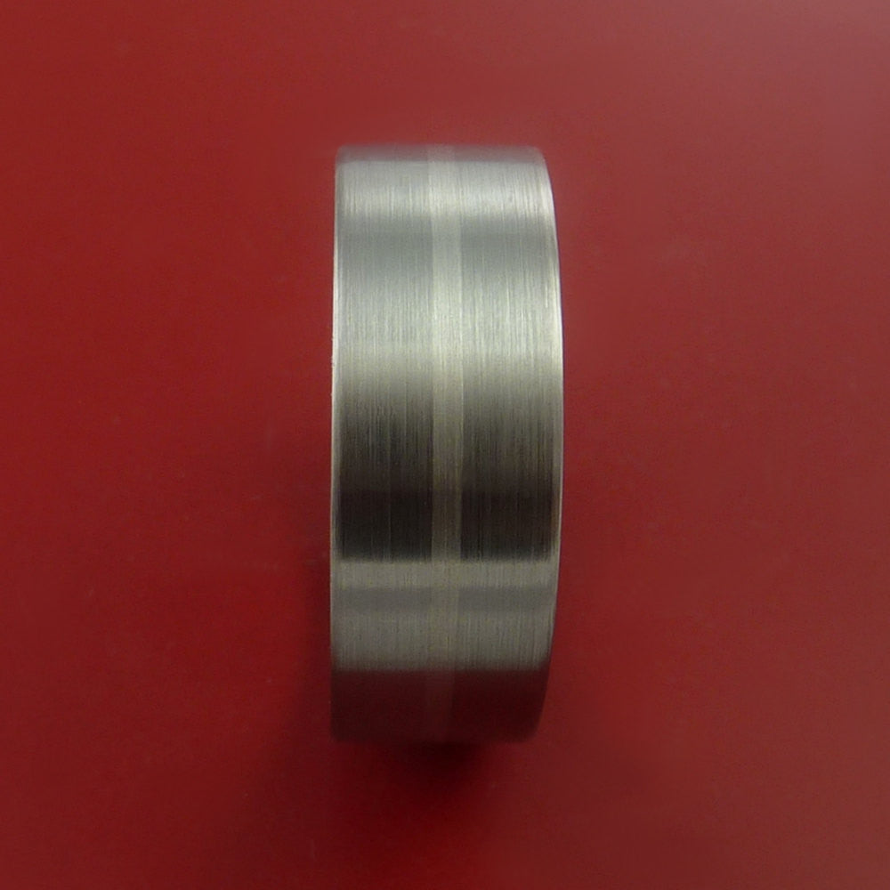 Titanium and 14K White Gold Wedding Ring Custom Made Band Any Finish and Sizing from 3-22 - Stonebrook Jewelry  - 3