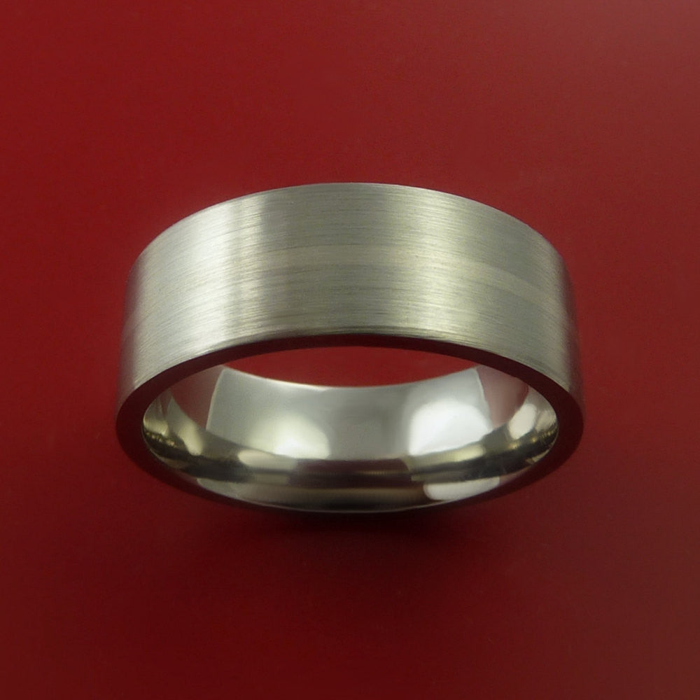 Titanium and 14K White Gold Wedding Ring Custom Made Band Any Finish and Sizing from 3-22 - Stonebrook Jewelry  - 2