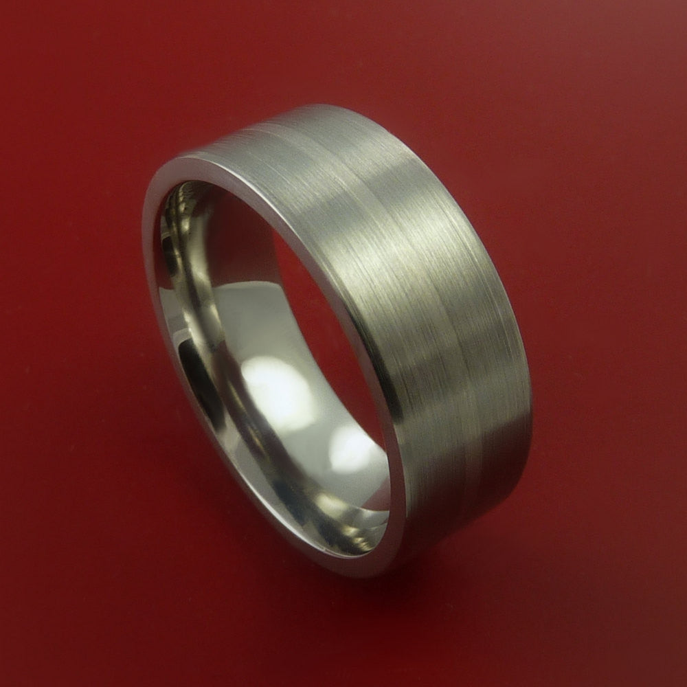 Titanium and 14K White Gold Wedding Ring Custom Made Band Any Finish and Sizing from 3-22 by Stonebrook Jewelry
