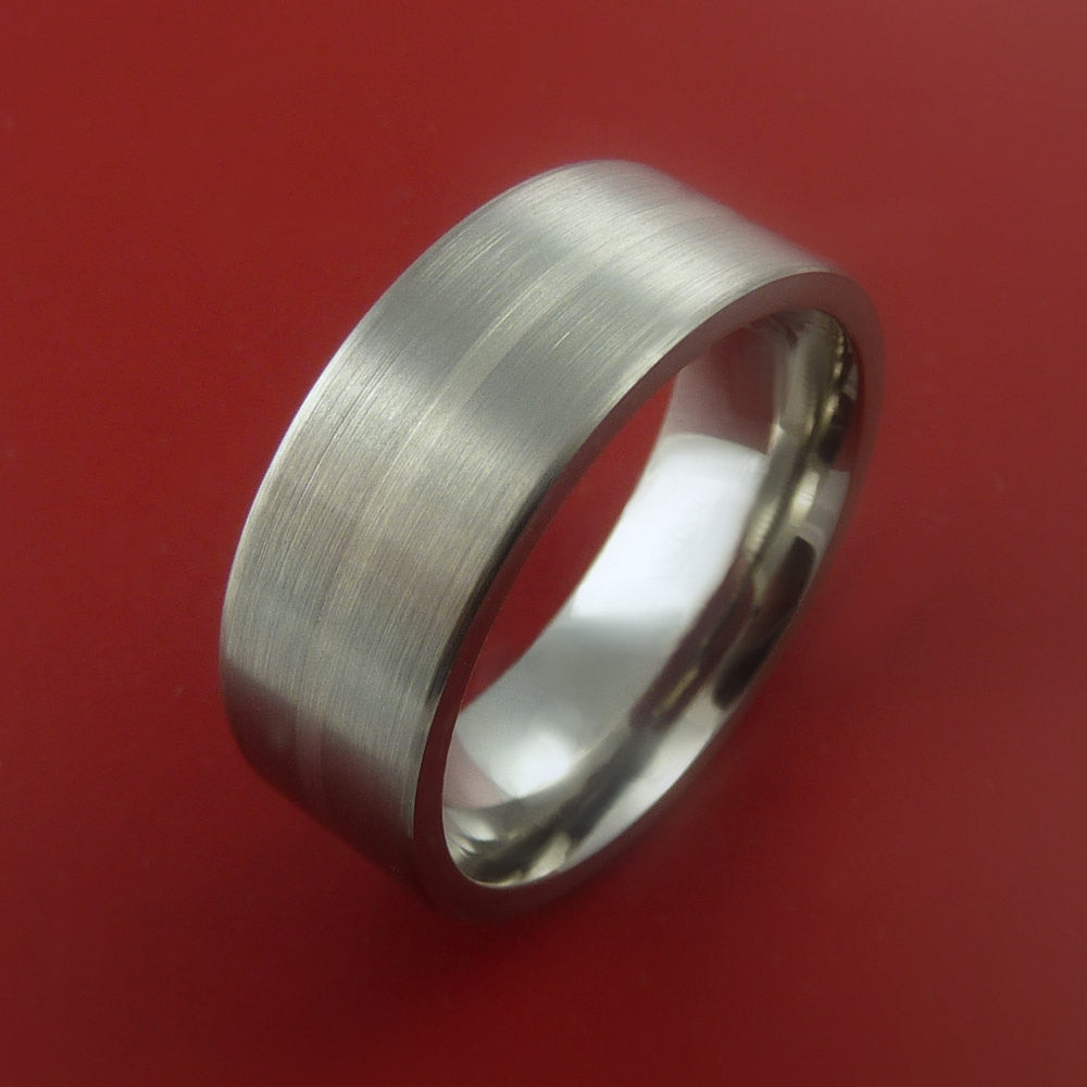 Titanium and 14K White Gold Wedding Ring Custom Made Band Any Finish and Sizing from 3-22 - Stonebrook Jewelry  - 4