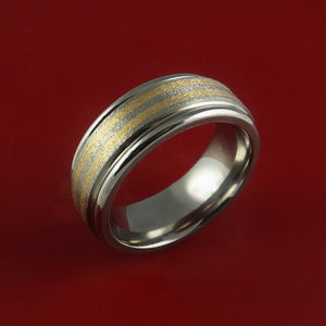 Titanium and 14K Yellow Gold Inlay Ring Wedding Band Any Size and Finish