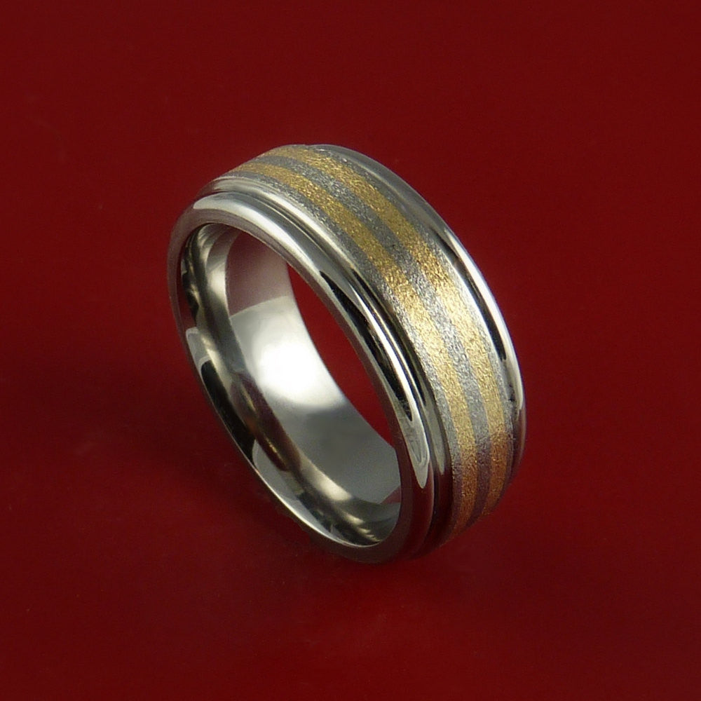 Titanium and 14K Yellow Gold Inlay Ring Wedding Band Any Size and Finish by Stonebrook Jewelry