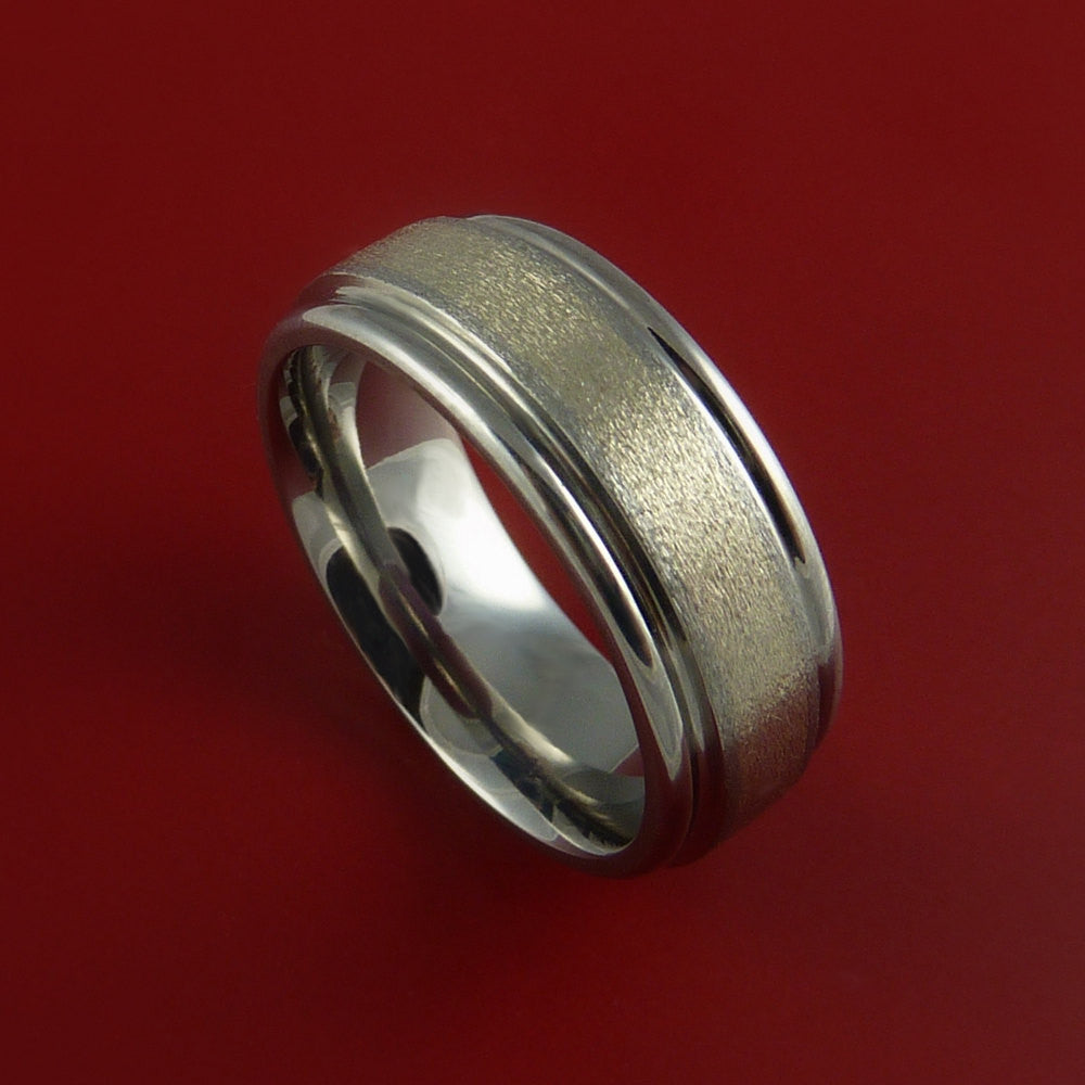 Titanium and White Gold 3mm Inlay Custom Made Band Any Finish and Sizing 3 to 22 by Stonebrook Jewelry