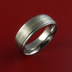 14k White Gold and Titanium Ring Custom Made Band Any Finish and Sizing from 3-22