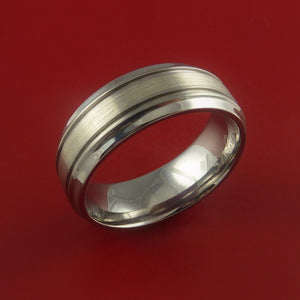 14K White Gold and Titanium Ring Custom Made Band Any Finish and Sizing 3 to 22