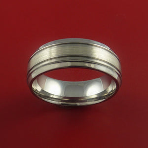 Titanium Ring with 14K White Gold and Groove Inlays Custom Made Band