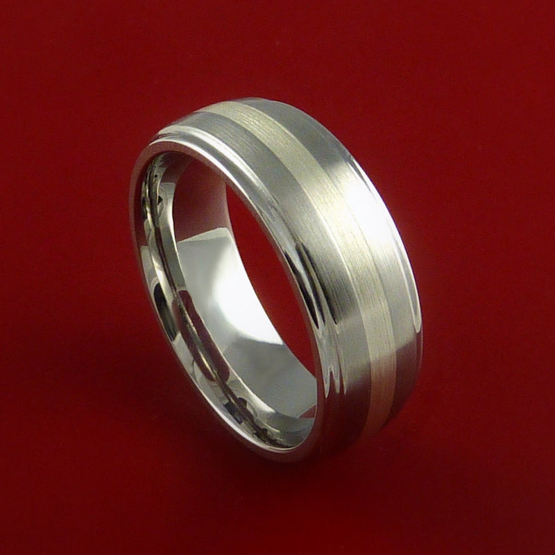 Cobalt Chrome and Silver Inlay Wedding Band Engagement Ring Made to Any Sizing and Finish 3-22