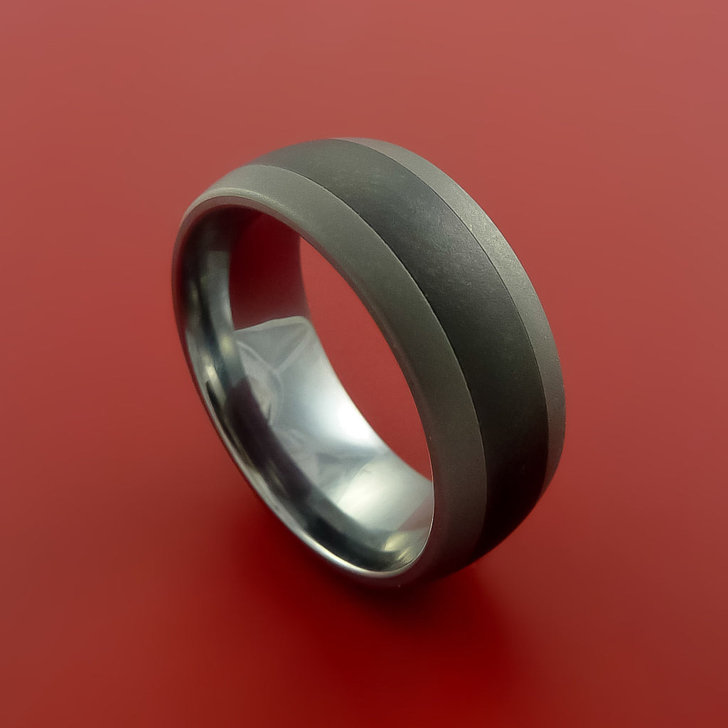 Black Ceramic Ring with Tungsten Center Durable Custom Made Ring by Stonebrook Jewelry