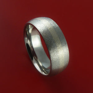 14K White Gold and Titanium Custom Made Band Any Finish and Sizing from 3-22