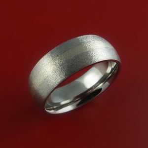 Titanium Ring with 14K White Gold Inlay Custom Made Band