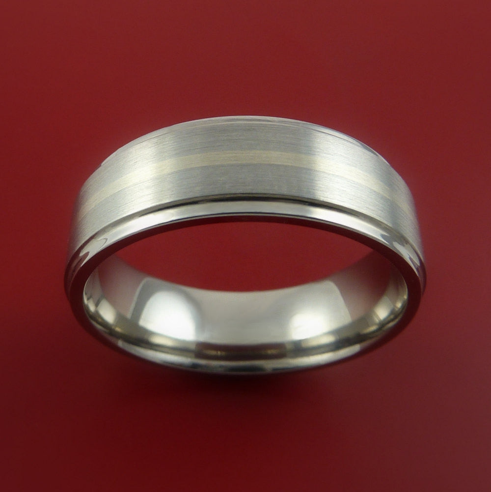 Titanium and 14k White Gold Ring Custom Made Band Any Finish and Sizing 3 to 22 - Stonebrook Jewelry  - 3