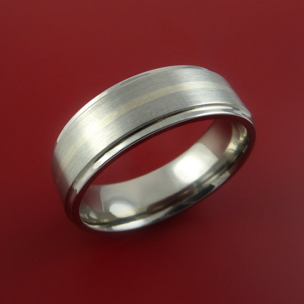 Titanium and 14k White Gold Ring Custom Made Band Any Finish and Sizing 3 to 22 - Stonebrook Jewelry  - 2