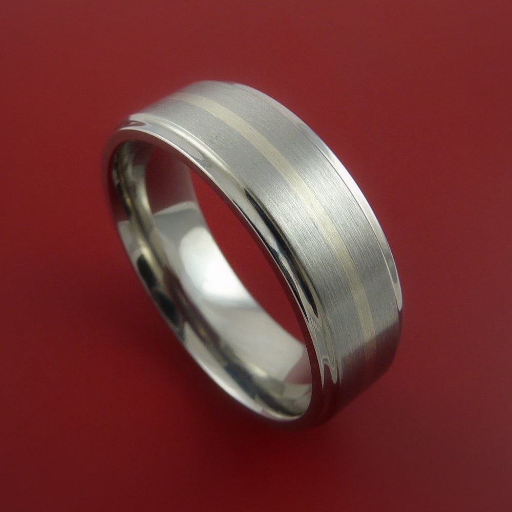 Titanium and 14k White Gold Ring Custom Made Band Any Finish and Sizing 3 to 22 by Stonebrook Jewelry