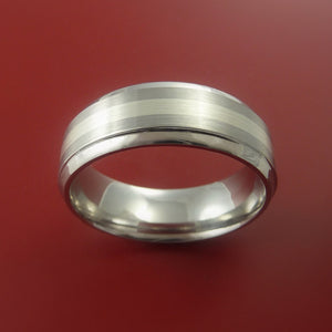 White Gold and Titanium Custom Made Band Any Finish and Sizing 3 to 22
