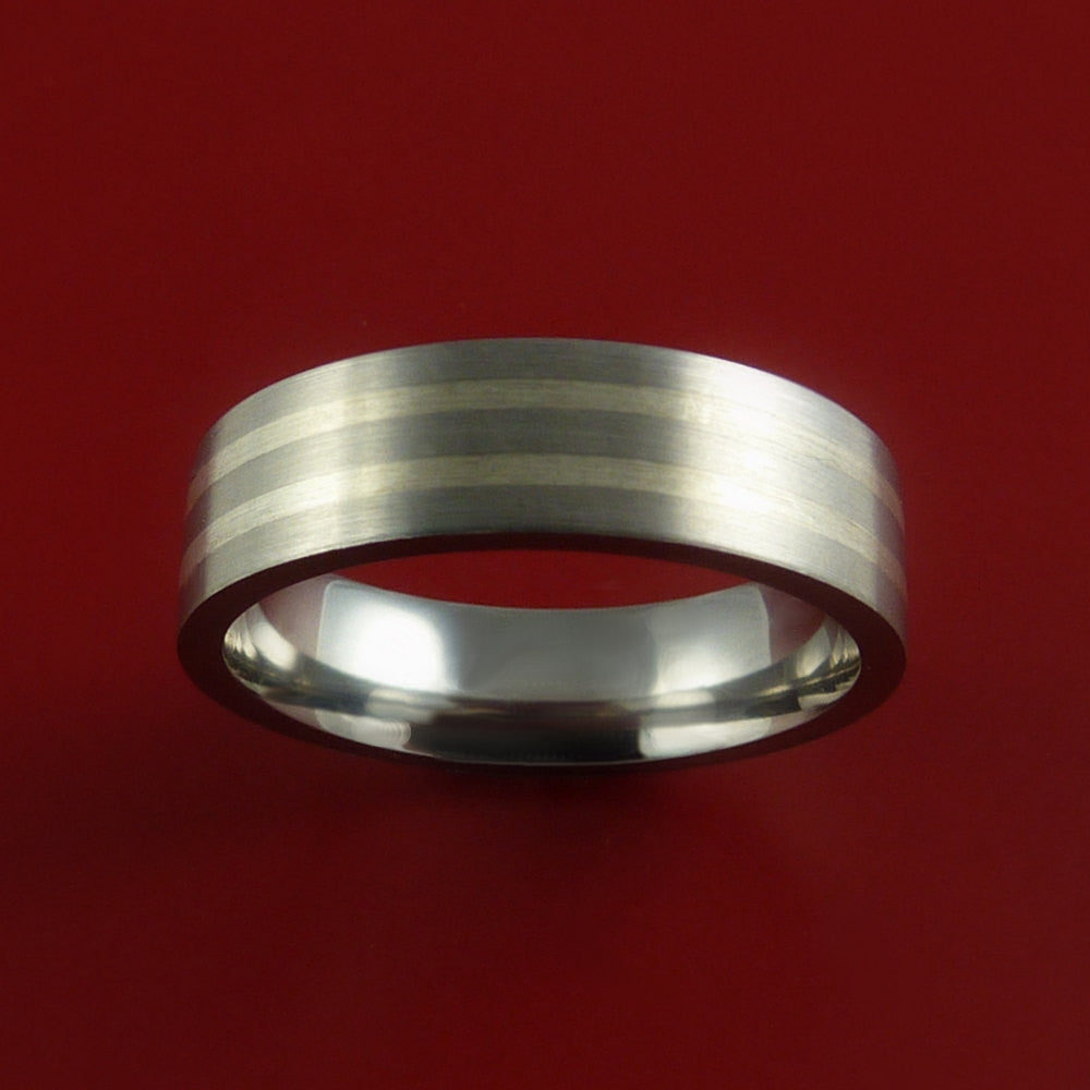 White Gold and Titanium Custom Made Band Any Finish and Sizing 3 to 22 - Stonebrook Jewelry  - 3
