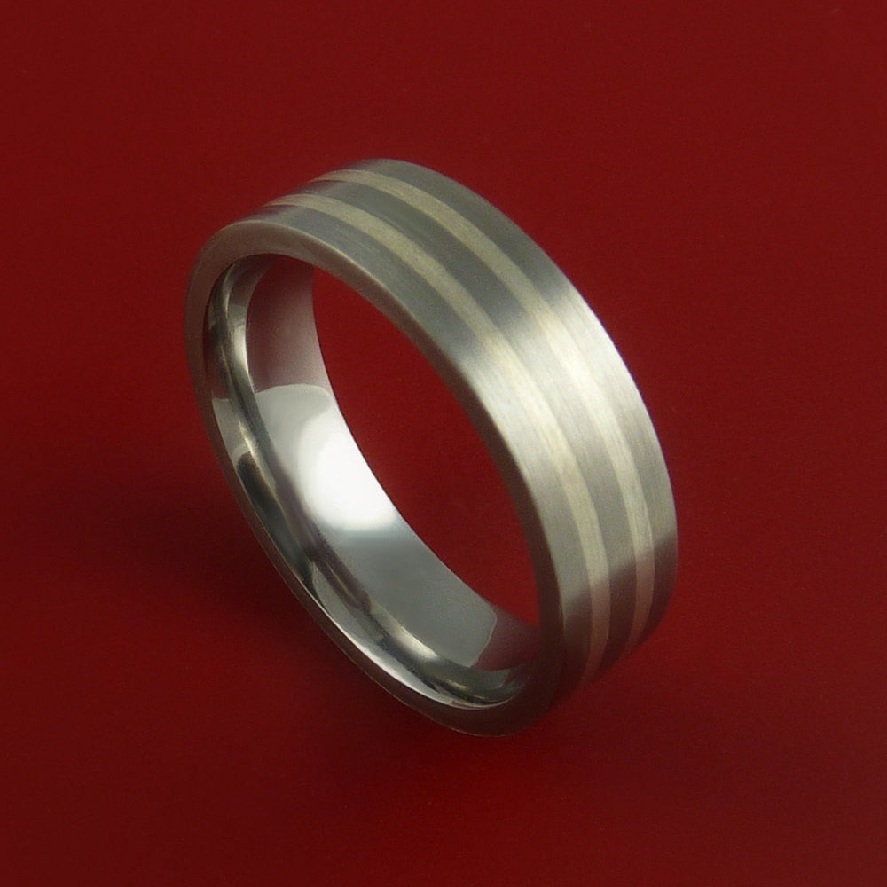 White Gold and Titanium Custom Made Band Any Finish and Sizing 3 to 22 - Stonebrook Jewelry  - 1