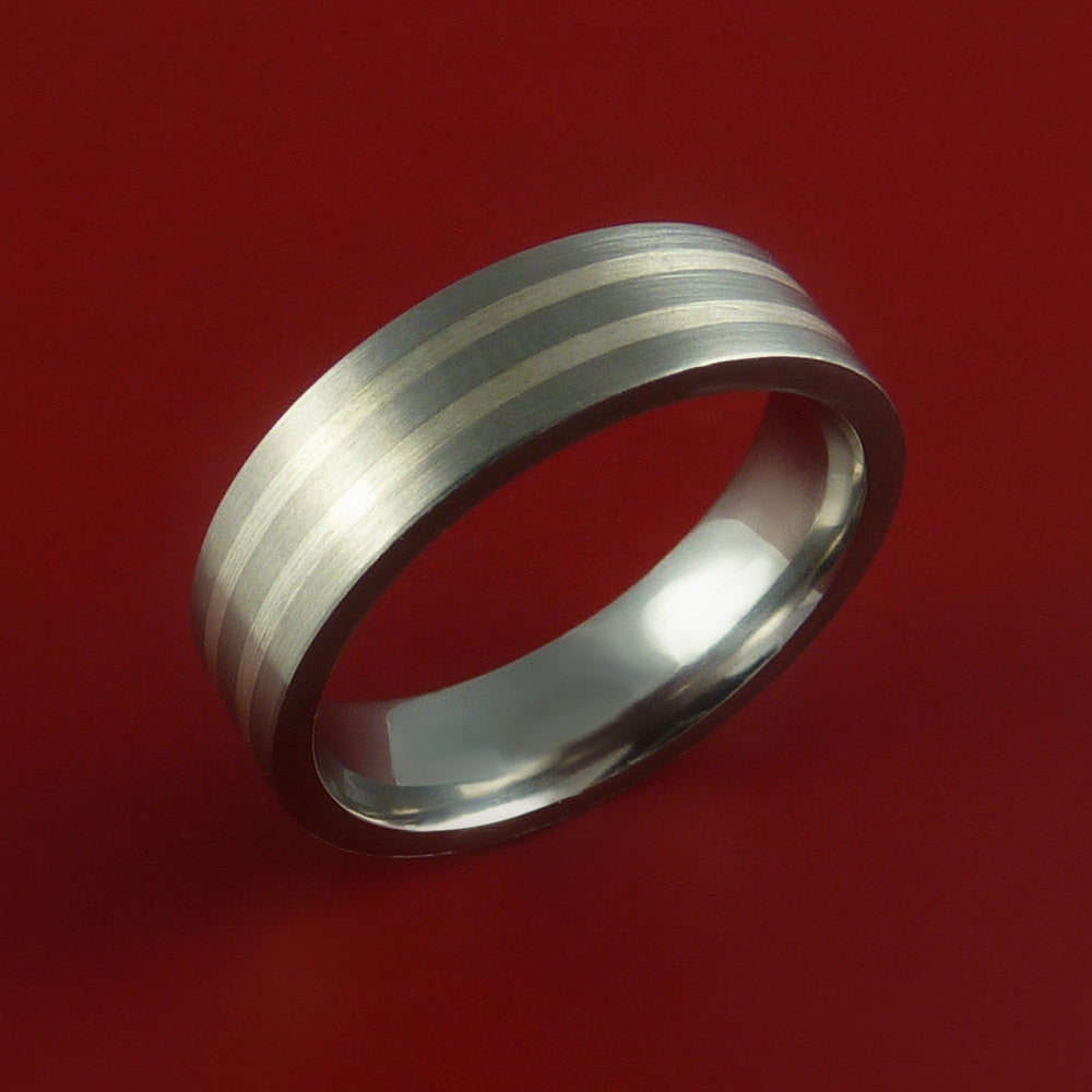 White Gold and Titanium Custom Made Band Any Finish and Sizing 3 to 22 - Stonebrook Jewelry  - 2
