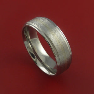 Titanium and 14k White Gold Ring Custom Made Band Any Finish and Sizing 3 to 22