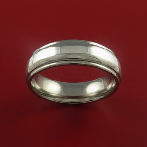 Titanium and White Gold Ring Custom Made Band Any Finish and Sizing 3 to 22