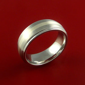 Cobalt Chrome Ring with Sterling Silver Inlay Custom Made Band