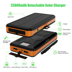 Solar Power Bank 25000 mAh Solar External Battery