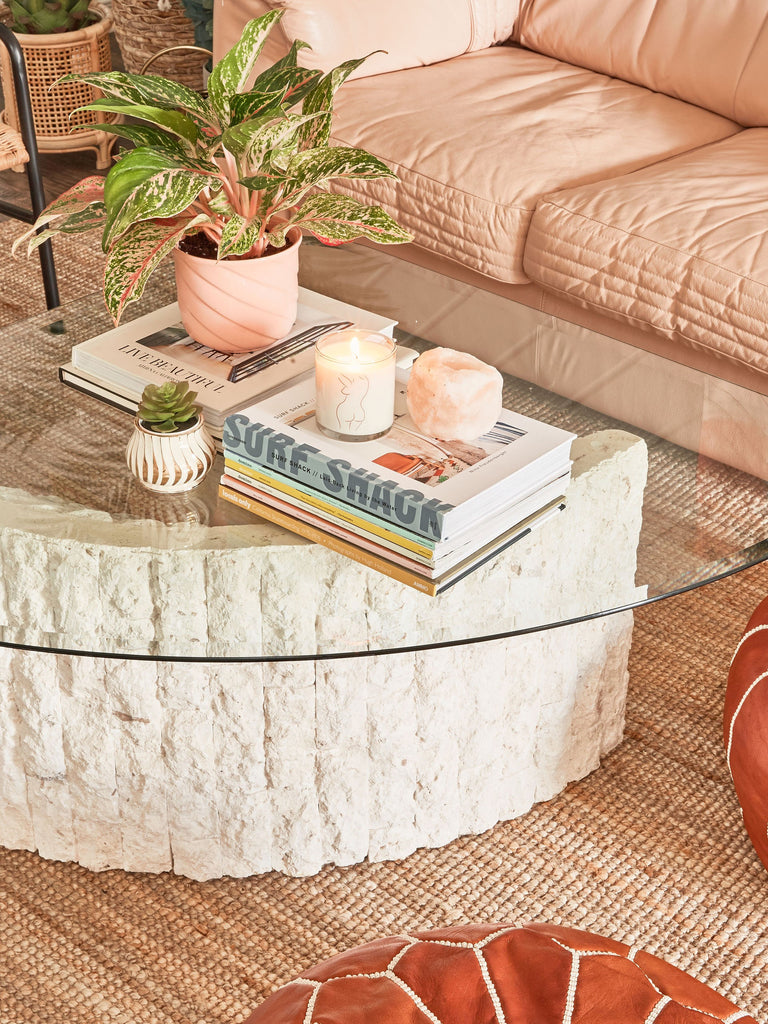 Coffee table styling from Motel Makeover / The June Motel