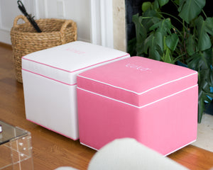 pink & white xoxo ottomans