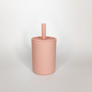 Blush cup with lid and straw