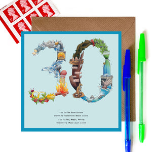 30th card for birthday or 30th anniversary card