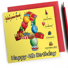 Load image into Gallery viewer, happy 4th birthday card