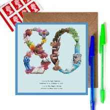Load image into Gallery viewer, 80th card for birthday or 80th anniversary card