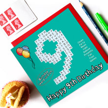 Load image into Gallery viewer, number 9 birthday card
