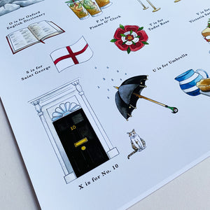 a very english alphabet poster downing street and larry the cat