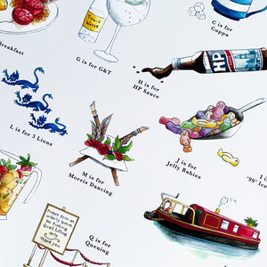 a very english alphabet home decor, signed fine art print featuring HP sauce and gin and tonic