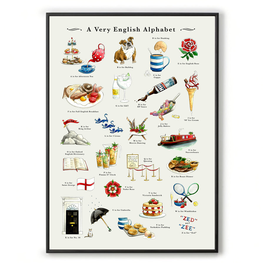 a very english alphabet wall art. house warming gift or leaving gift for  expat