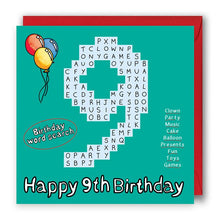 Load image into Gallery viewer, happy 9th birthday card