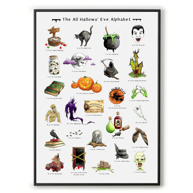 halloween alphabet print gothic home decor