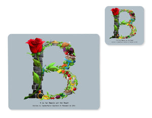letter b alphabet placemat and matching coaster