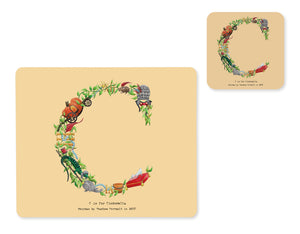 alphabet placemat and matching coaster letter c