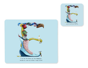 alphabet placemat and matching coaster letter e