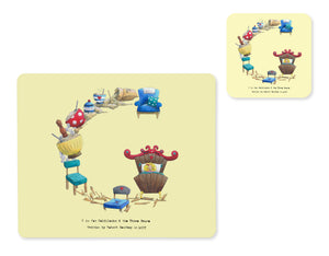 alphabet placemat and matching coaster letter g