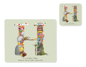alphabet placemat and matching coaster letter h