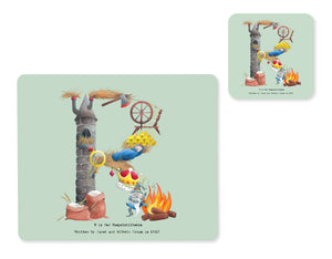 alphabet placemat and matching coaster letter r