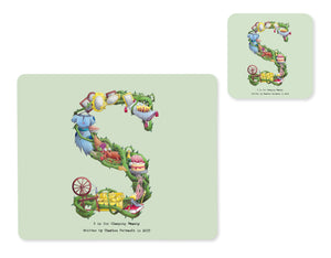 alphabet placemat and matching coaster letter s