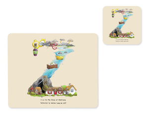 alphabet placemat and matching coaster letter z