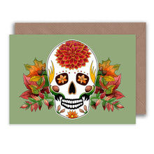 Load image into Gallery viewer, autumn birthday sugar skull greeting card for fall